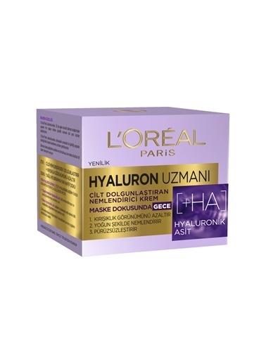 L'Oréal Paris Hyaluron Uzmanı Cilt Dolgunlaştıran Nemlendirici Maske Dokusunda Gece Kremi 50 ml Renksiz